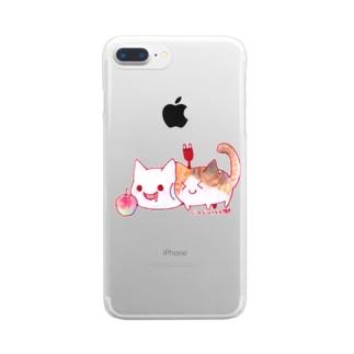 ねこさんと三毛猫とリンゴ Clear smartphone cases
