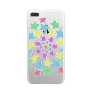 たくさんの星に囲まれて Clear smartphone cases