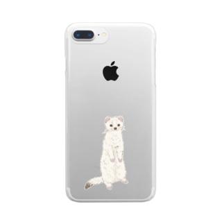 まっしろオコジョ Clear smartphone cases