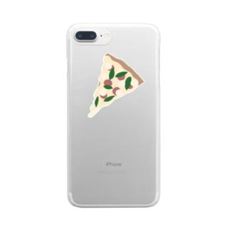 トマトとバジルのピザ Clear smartphone cases