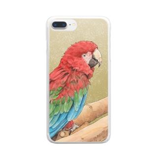 ベニコンゴウインコ Clear smartphone cases