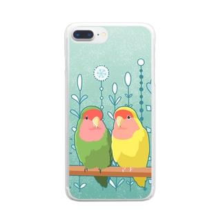 コザクラインコペア Clear smartphone cases