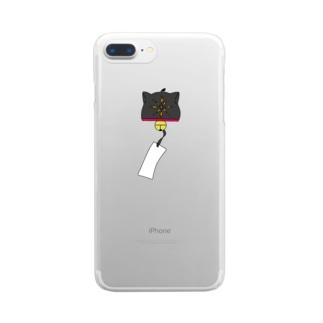 ネコ風鈴 Clear smartphone cases