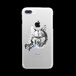 ほしくずペイントのスケッチ風オオカミくん Clear smartphone cases