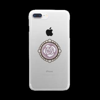Su❁の白い薔薇【ロリータ】 Clear smartphone cases