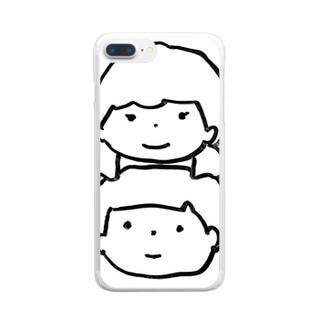 つよき女の子とやさしい男の子 Clear smartphone cases