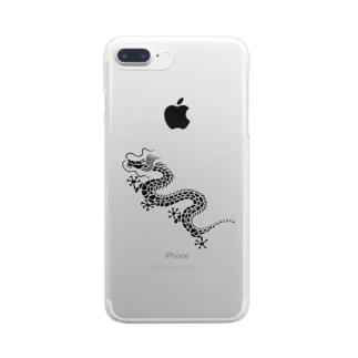 ツバメ堂の昇り龍(黒) Clear smartphone cases