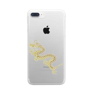 昇り龍(黄金) Clear smartphone cases