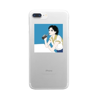 ボーリングシャツのイケてる彼女 Clear smartphone cases