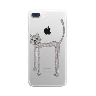 荒れ狂う伸び猫 Clear smartphone cases