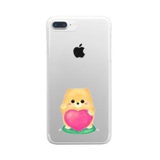 お招きポメラニアン Clear smartphone cases