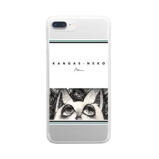 考え猫 Clear smartphone cases