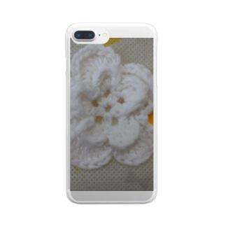 ししゅうがかわいいフラワー Clear smartphone cases