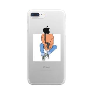 顔出しパネル的なカオナシくん Clear smartphone cases