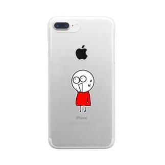 チビィズ(赤) Clear smartphone cases