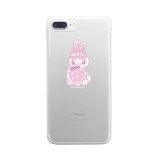 ラヴちゃん公式ショップのいちごとねんね Clear smartphone cases
