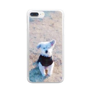 芝生のおじい犬(水彩調) Clear smartphone cases
