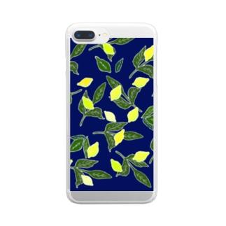菜っぱの青と檸檬 Clear smartphone cases