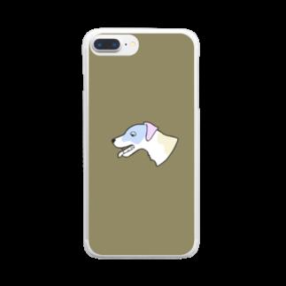 梅子のマーケットのバテてるジャックラッセルテリアのスマホケース Clear smartphone cases