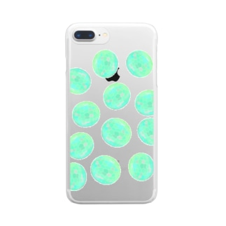水草のグリーン玉いっぱい Clear smartphone cases