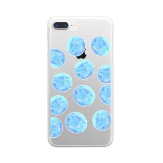 水草のブルー玉いっぱい Clear smartphone cases