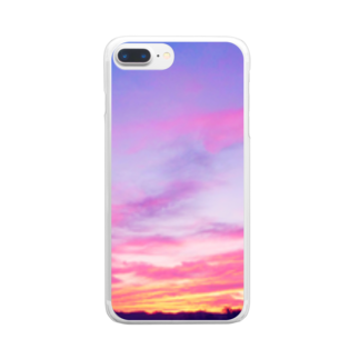 DOLUXCHIC RAYLOのPink Sunset sky Clear smartphone cases