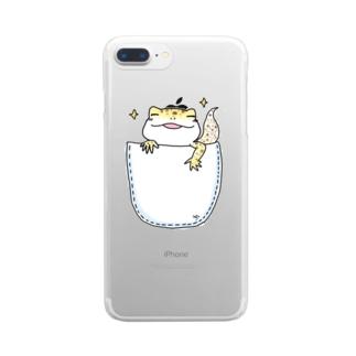のほほん日和のレオパのくーちゃん(inポッケ) Clear smartphone cases