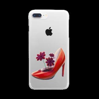 つちのこのチョコレートコスモスと赤いヒール Clear smartphone cases