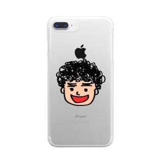 月タン似顔絵 Clear smartphone cases