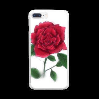 冬ノ雑貨店の一輪の薔薇 Clear smartphone cases