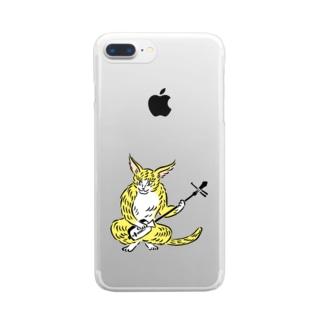 大津絵・猫に三味線 Clear smartphone cases