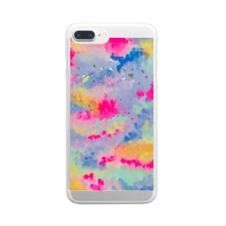 カラフルれいんぼー Clear smartphone cases