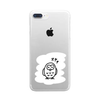 居眠りふくろう Clear smartphone cases
