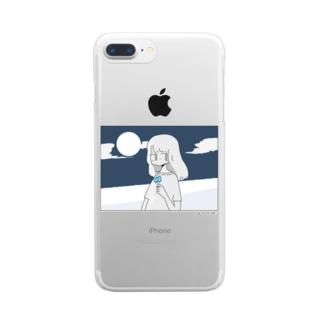 八月の夜 Clear smartphone cases