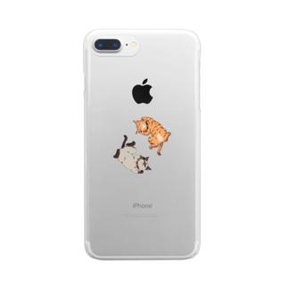 ヘソ天猫(ポインテッド+茶トラ) Clear smartphone cases