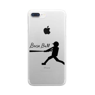 モノクロバッティング Clear smartphone cases