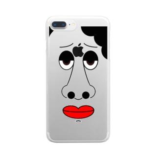 どアップおばさんクリアスマホケース Clear smartphone cases