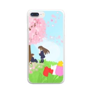 想い桜の下で Clear smartphone cases