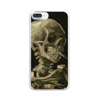 火のついた煙草をくわえた骸骨 Clear smartphone cases