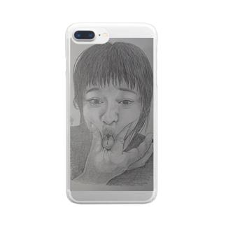 天神変顔  ひよこ Clear smartphone cases