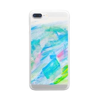 余白の海へすすむ魚𓆛𓆜𓆝𓆞𓆟 Clear smartphone cases