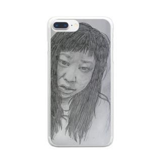 天神髪ボサ Clear smartphone cases
