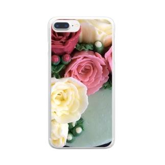 パイピングのお花 Clear smartphone cases