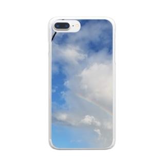 虹(最低限Ver.) Clear smartphone cases