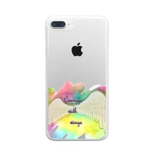 勇気を翼に★天使の羽★癒しカラー Clear smartphone cases