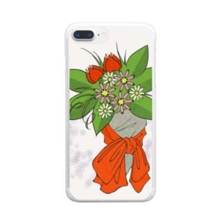 赤い花束 #01 Clear smartphone cases