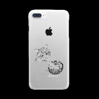 イノリシ シンの猫とりんご Clear smartphone cases