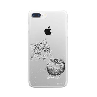 猫とりんご Clear smartphone cases