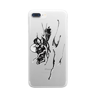 『さる沢』ロゴ Clear smartphone cases