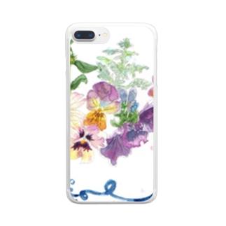 リボンとお花 Clear smartphone cases
